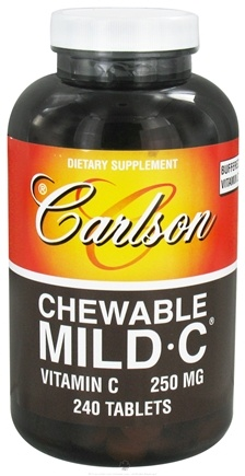DROPPED: Carlson Labs - Chewable Mild-C Vitamin C Tangerine 250 mg. - 240 Tablets CLEARANCE PRICED