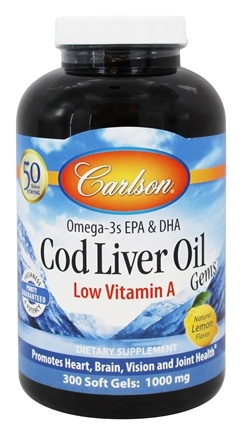Carlson Labs - Cod Liver Oil Gems Low Vitamin A 1000 mg. - 300 Softgels