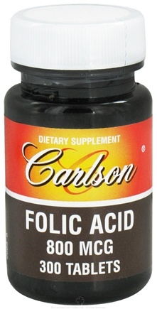 DROPPED: Carlson Labs - Folic Acid 800 mcg. - 300 Tablets CLEARANCE PRICED