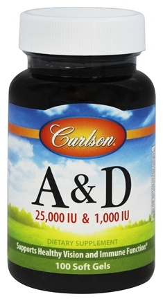 Carlson Labs - Vitamin A & D/25,000 IU & 1,000 IU - 100 Softgels