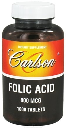 DROPPED: Carlson Labs - Folic Acid 800 mcg. - 1000 Tablets CLEARANCE PRICED