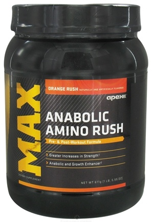 DROPPED: Apex Fitness - Max Anabolic Amino Rush Orange Rush - 1 lb. CLEARANCE PRICED