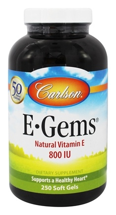 Carlson Labs - E-Gems Natural Vitamin E 800 IU - 250 Softgels