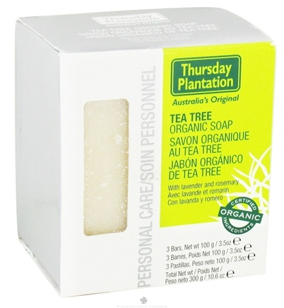 DROPPED: Thursday Plantation - Tea Tree Organic Soap with Lavender & Rosemary - 3 Bars