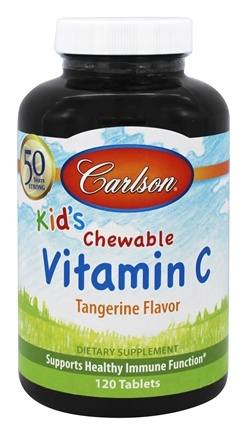 Carlson Labs - Kid's Chewable Vitamin C Tangerine Flavor 250 mg. - 120 Chewable Tablets