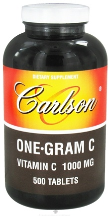 DROPPED: Carlson Labs - One-Gram C Vitamin C 1000 mg. - 500 Tablets CLEARANCE PRICED