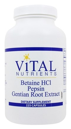 Vital Nutrients - Betaine HCl with Pepsin and Gentian Root Extract - 225 Capsules
