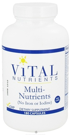 Vital Nutrients - Multi-Nutrients No Iron or Iodine - 180 Capsules