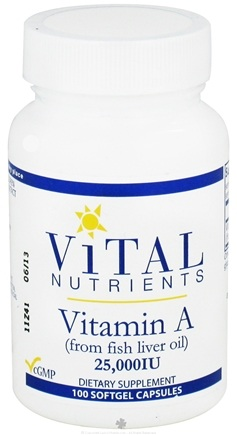 DROPPED: Vital Nutrients - Vitamin A from Fish Liver Oil 25000 IU - 100 Softgels