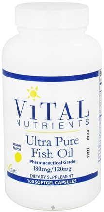 Vital Nutrients - Ultra Pure Fish Oil 180mg/120mg Lemon Flavor - 100 Capsules