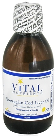 DROPPED: Vital Nutrients - Norwegian Cod Liver Oil Lemon Flavor - 200 ml. CLEARANCE PRICED
