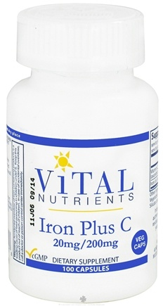 DROPPED: Vital Nutrients - Iron Plus C 20mg/200 mg - 100 Vegetarian Capsules