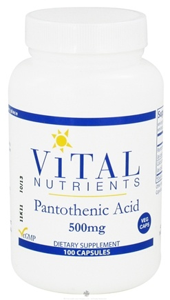 DROPPED: Vital Nutrients - Pantothenic Acid 500 mg. - 100 Vegetarian Capsules CLEARANCE PRICED