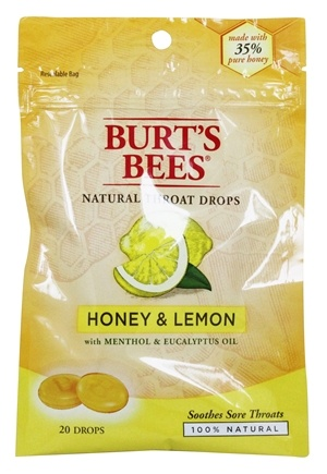 DROPPED: Burt's Bees - Natural Throat Drops Honey & Lemon - 20 Count