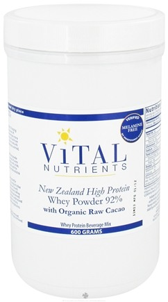 DROPPED: Vital Nutrients - New Zealand Grass-Fed Whey Protein Powder 92% with Organic Raw Cacao - 600 Grams