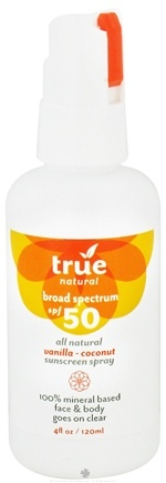DROPPED: True Natural Cosmetics - Broad Spectrum All Natural Sunscreen Spray Vanilla-Coconut 50 SPF - 4 oz. CLEARANCE PRICED