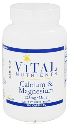 DROPPED: Vital Nutrients - Calcium and Magnesium 225mg/75mg - 100 Capsules CLEARANCE PRICED
