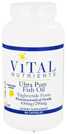 DROPPED: Vital Nutrients - Ultra Pure Fish Oil Triglyceride Form 430mg/290mg Lemon Lime - 90 Capsules CLEARANCE PRICED
