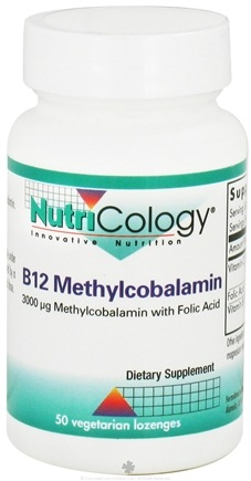 DROPPED: Nutricology - B12 Methylcobalamin Cherry/Raspberry Flavor - 50 Lozenges CLEARANCE PRICED