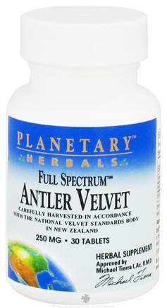 DROPPED: Planetary Herbals - Antler Velvet Full Spectrum 250 mg. - 30 Tablets
