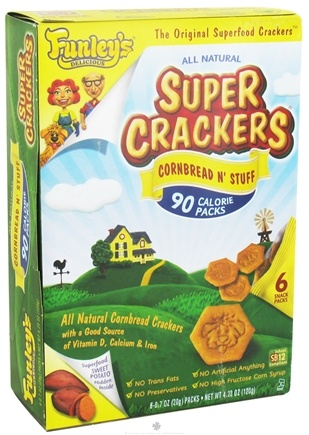 DROPPED: Funley's - All Natural Super Crackers 100 Calorie Snack Packs Cornbread N' Stuff - 6 x 0.7 oz. Packs CLEARANCE PRICED