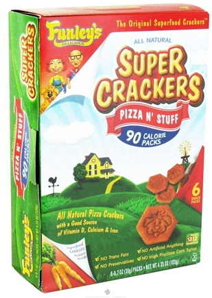 DROPPED: Funley's - All Natural Super Crackers 100 Calorie Snack Packs Pizza N' Stuff - 6 x 0.7 oz. Packs CLEARANCE PRICED