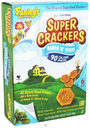 DROPPED: Funley's - All Natural Super Crackers 100 Calorie Snack Packs Ranch N' Stuff - 6 x 0.7 oz. Packs CLEARANCE PRICED