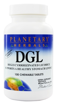 Planetary Herbals - DGL Deglycyrrhizinated Licorice Professional Strength - 100 Chewable Tablets