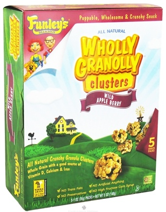 DROPPED: Funley's - All Natural Wholly Granolly Clusters Snack Packs Wild Apple Berry - 5 x 1 oz. Packs CLEARANCE PRICED