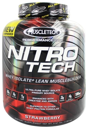Muscletech Products - Nitro Tech Performance Series Whey Isolate Strawberry - 4 lbs.
