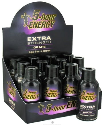 DROPPED: 5 Hour Energy - Energy Shot Extra Strength - 12 Bottles Grape Flavor - 1.93 oz. CLEARANCE PRICED