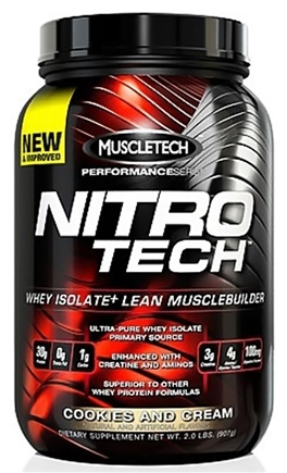 DROPPED: Muscletech Products - Nitro Tech Performance Series Whey Isolate Cookies and Cream - 2 lbs.
