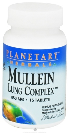 DROPPED: Planetary Herbals - Mullein Lung Complex 850 mg. - 15 Tablets CLEARANCE PRICED