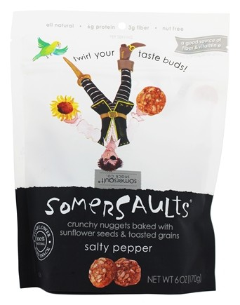 Somersaults - Crunchy Nuggets Sunflower Seed Snacks Salty Pepper - 6 oz.