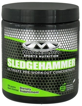 DROPPED: Muscleology - Sledgehammer Ultimate pre-Workout Concentrate Sour Apple - 205 Grams CLEARANCE PRICED