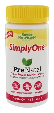 Super Nutrition - Simply One PreNatal Power Vitamins - 30 Tablets