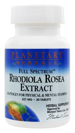 DROPPED: Planetary Herbals - Rhodiola Rosea Extract Full Spectrum 327 mg. - 30 Tablets