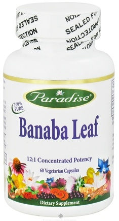 DROPPED: Paradise Herbs - Banaba Leaf 12:1 Concentrated Potency - 60 Vegetarian Capsules