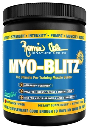 DROPPED: Ronnie Coleman Signature Series - Myo-Blitz Ultimate Pre-Training Muscle Builder Fruit Punch Fusion - 240 Grams CLEARANCE PRICED