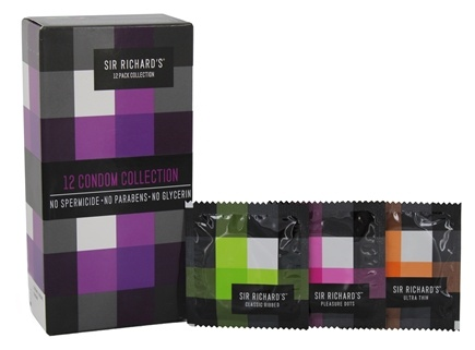 Sir Richard's Condom Company - Collection Condoms (4 Classic Ribbed, 4 Pleasure Dots and 4 Ultra Thin) - 12 Pack