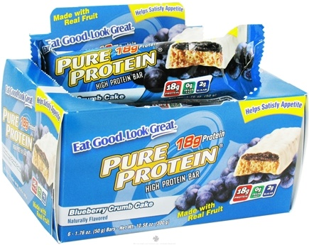 DROPPED: Pure Protein - High Protein Bar Blueberry Crumb Cake - 6 x 1.76 oz. Bars