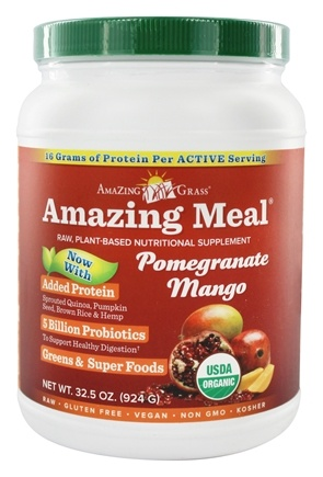 Amazing Grass - Amazing Meal Powder 30 Servings Pomegranate Mango Infusion - 31 oz.