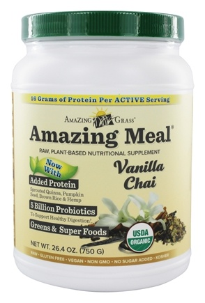 Amazing Grass - Amazing Meal Powder 30 Servings Vanilla Chai Infusion - 24.8 oz.