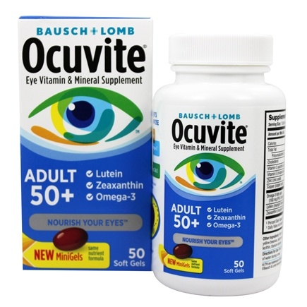 Bausch & Lomb - Ocuvite Adult 50+ with Lutein, Zeaxanthin and Omega-3 - 50 Softgels