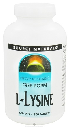 DROPPED: Source Naturals - L-Lysine Free Form 500 mg. - 250 Tablets CLEARANCE PRICED
