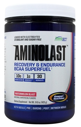 Gaspari Nutrition - AminoLast Recovery & Endurance BCAA Powder Superfuel Watermelon Blast - 30 Servings - 14.8 oz.