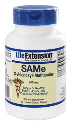 DROPPED: Life Extension - SAMe S-Adenosyl-Methionine 400 mg. - 50 Enteric-Coated Tablets
