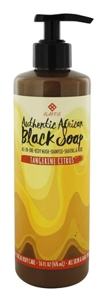Alaffia - Authentic African Black Soap with Fair Trade Shea Butter Tangerine Citrus - 16 oz.