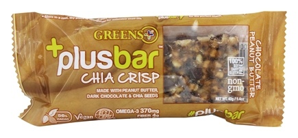 Greens Plus - Vegan Chocolate Peanut Butter Chia Crisp Bar Peanut Butter & Dark Chocolate Crisp - 1.4 oz.