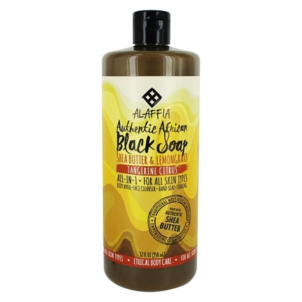 Alaffia - Authentic African Black Soap with Fair Trade Shea Butter Tangerine Citrus - 32 oz.
